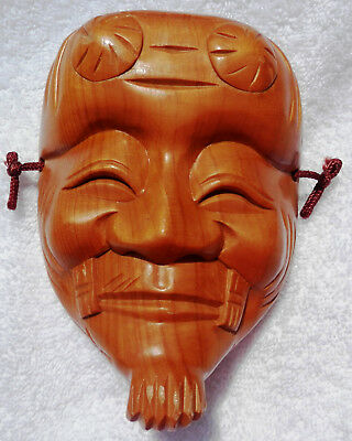Carved WOOD CHILD SIZE wall hanging NOH MASK - Old man - Okina Souvenir Japan