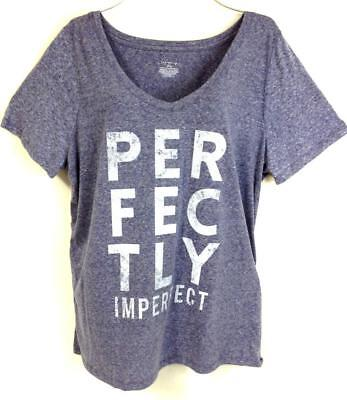 Lane bryant blue blended perfectly imperfect v-neck top 14/16 18/20 22/24 26/28