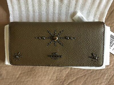 Coach Western Rivets Slim Pebbled Leather Wallet in Fatigue Green 57530 NWT
