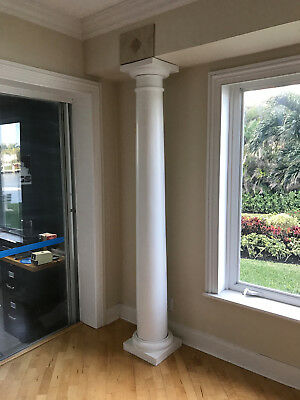 Architectural Column with Tuscan Cap and Base Tapered White Synthetic Stone