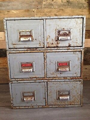3 Pairs Of Grey Metal Industrial Kingsbury Filing Drawers Cabinet Storage Office