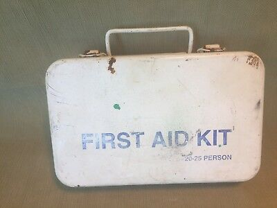 Curity first aid cabinet vintage nurse kit industrial 100 blue white wall hanger metal 1950s Chicago made in USA home decor shelf