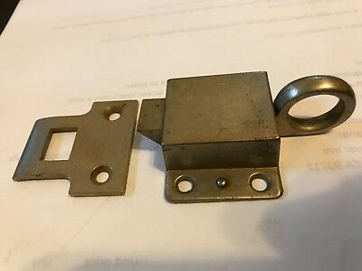Old Shabby Chrome Brass Cabinet Cupboard Hoosier Door Window Latch Lock Catch