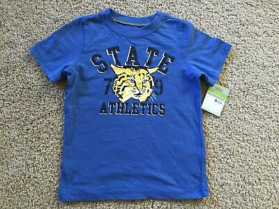 New Carter's Toddler Boys Slate Atlethics Tee Blue. Size 4T