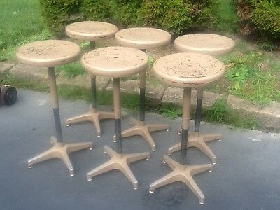 """6 Vtg Adjusto Equiptment Co Adjustable - 18"""" To 27 1/2"""" - 13"""" Seats - Very Good"""