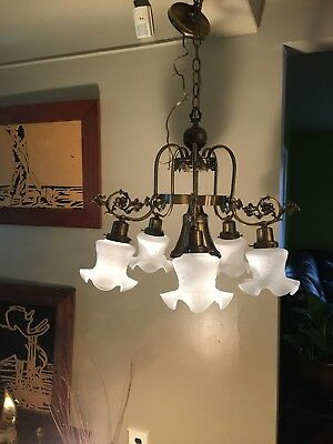Antique Vintage Chandelier French Empire Light  Lamp Pendant rewired