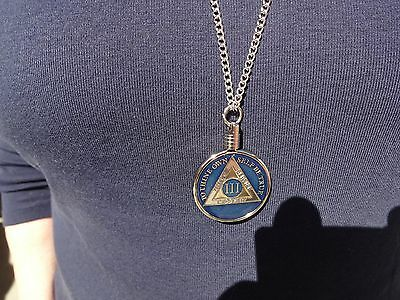 """24"""" Necklace Pendant AA Alcoholics Anonymous Coin Medallion Silver Tri-Plate&Reg"""