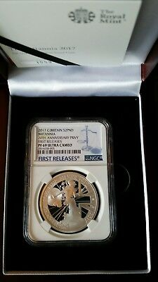 2017 G.B. Britannia 20th Anniversary 1oz Silver Proof NGC 69 FIRST RELEASES