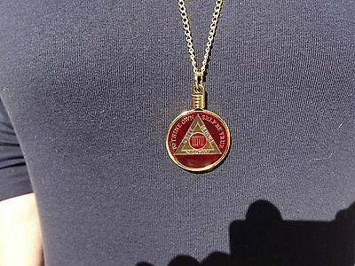 "24"" Necklace AA Alcoholics Anonymous Coin Holder Medallion Tri-Plate&Reg Gold"