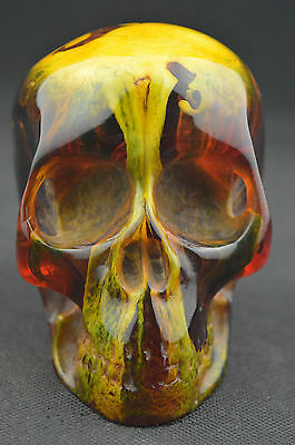 China collectibles old amber statue carving skull decoration