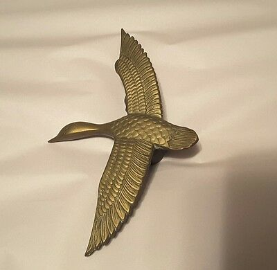 Vintage Door Knocker Doorknocker Solid Brass Mallard Duck In Flight NO HARDWARE