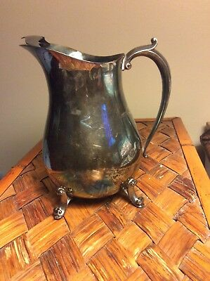 Vintage Silver-Plated Water Pitcher with ice lip