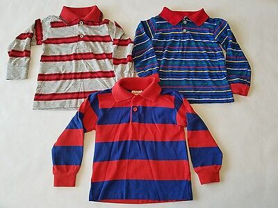 Vintage 80s Rugby Long Sleeve Striped Shirts Healthtex Sears Wonderknit Sz 3 4T