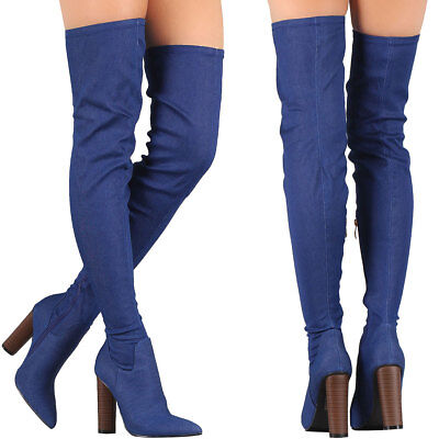 abb4d7abb90 Blue Denim Pointy Toe Chunky Thick Heel Fitted OTK Over The Knee Thigh High  Boot