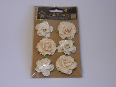 Prima Flowers- 6 pieces- Cream Roses with Glitter