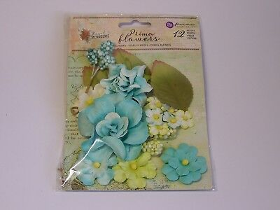 Prima Flowers- 12 pieces- Blue Mixed Flowers, Sprigs and Leaves