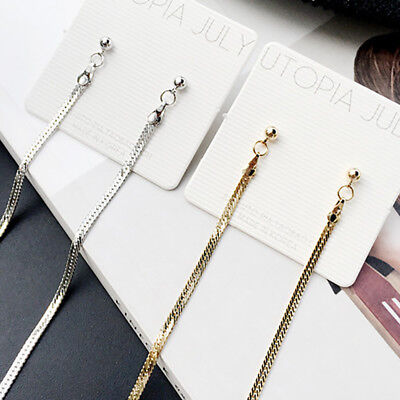 Women's Gold Plated Long Dangle Drop Chain Hook Earrings Ear Stud Jewelry Gifts