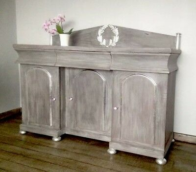 Victorian Shabby Chic French Sideboard Chiffonier Grey/Silver Hand Paint/Gilding