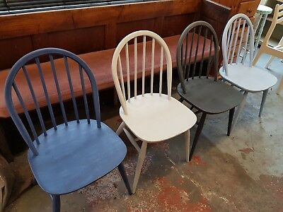 Set of 4 Painted Stick Back Dining Chairs