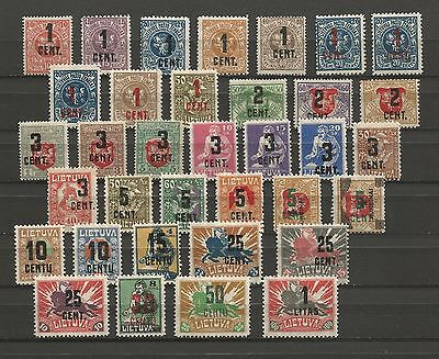 Lithuania Litauen 1922 MH Mi 138-175 Sc 123-160 New currency overprinted issue