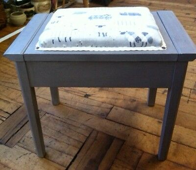Dressing stool, very stylish grey neutral fabric,  piano stool with storage