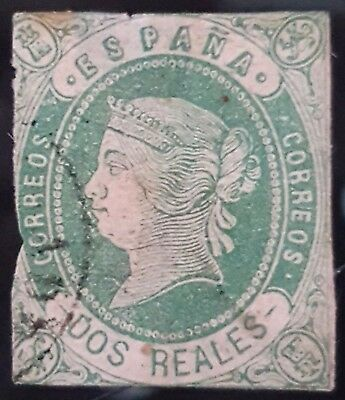 Spain 1862 Sc # 60 2 Reals Used Stamp