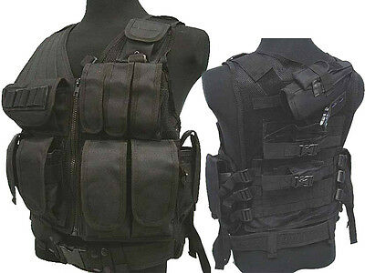 Military Tactical 045 Airsoft Molle Combat Vest w/Pistol Holster Black