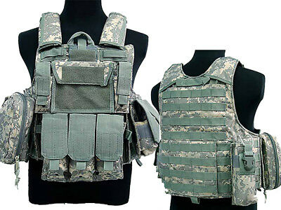 Tactical Military Airsoft Paintball Camo Level 5 Molle Combat Vest ACU Color