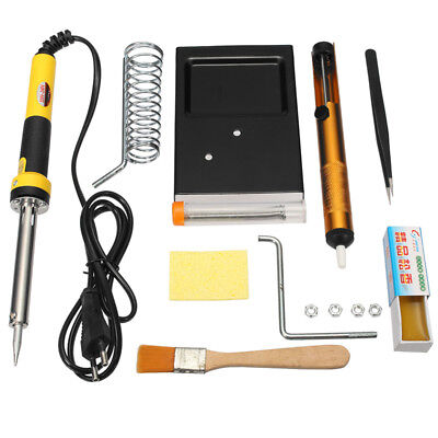 7-in-1 220V 60W SMD Rework Soldering Iron Kit with Desoldering Pump Stand