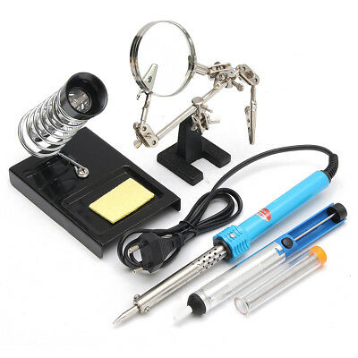 5 In 1 60W Electric Rework Soldering Iron Kit With Magnifier Desoldering Pump