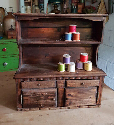 Vintage Apprentice Miniature Welsh Dresser 39cm Rustic Country Kitchen Dolls