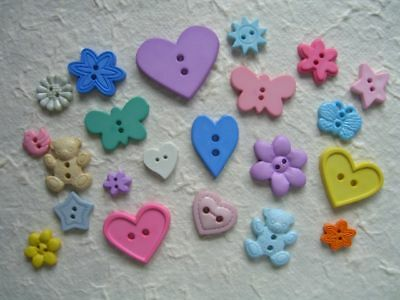 50grams SCRAPBOOKING / CRAFT novelty BUTTONS B01  Mixed shapes Pastels