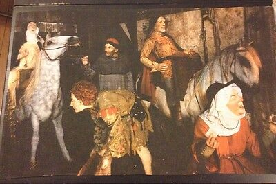 Exceptional Old Vintage Tea Towel Night Life in Old England never used