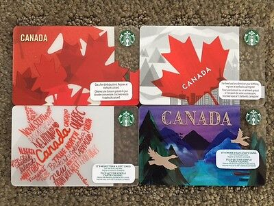 Lot of 4 - Canada Series STARBUCKS cards 2012, 2013, 2014 & 2016 - New No Value