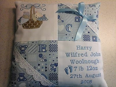 Personalised Embroidered Baby Cushion  For Boy Or Girl