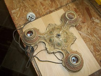20's ANTIQUE VINTAGE ART DECO CAST IRON CEILING LIGHT FIXTURE CHANDELIER