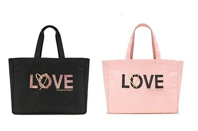 $58 Victorias Secret Weekender Sequin Love Tote Bag Black Pink You Pick 2017