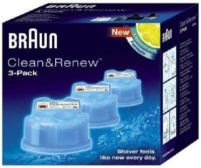 New Braun Ccr3 Clean & Renew Shaver Cleaning Refills Cartridges Pack Of 3