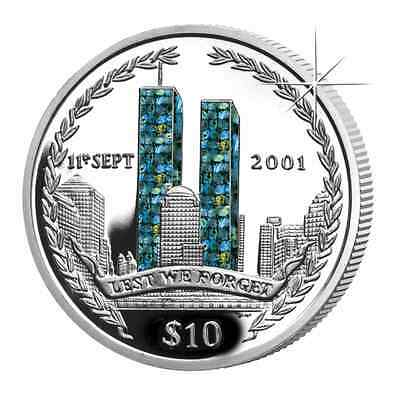2002 British Virgin Islands Anniversary World Trade Center Hologram Silver Coin