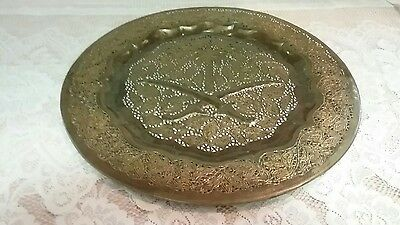 Antique-Vintage Large Brass Reticulated Wall Hanger/Tray w Swords Fancy Pattern