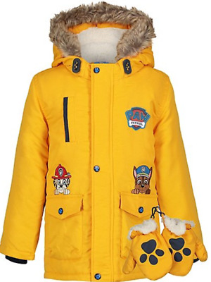 Boys Paw Patrol Hooded Coat with Mittens Hooded Parka Coat Jacket 2-7 Years NEW