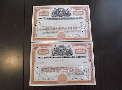 Two The New York Chicago and St Louis Railroad Company Stock Certificates