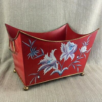 Vintage Tin Tole Ware Planter Magazine Box Hollywood Regency Harrods