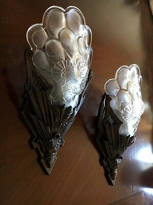 STUNNING RARE FROSTED GLASS ART DECO GENET ET MICHON 20s Slip Shades Sconces