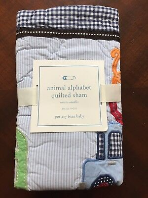 NEW Pottery Barn Kids PB Baby Animal Alphabet Small Quilted Sham Blue Gingham