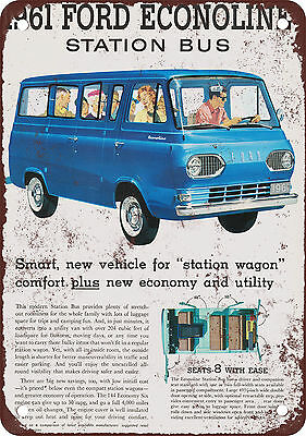 """7"""" x 10"""" Metal Sign - 1961 Ford Econoline Station Bus - Vintage Look Reproductio"""