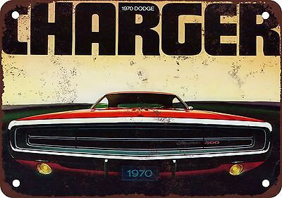 """7"""" x 10"""" Metal Sign - 1970 Dodge Charger 500 - Vintage Look Reproduction"""