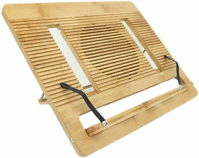 Book Stand Ucharge Bamboo Adjustable and Portable Cookbook Reading Stand and ...