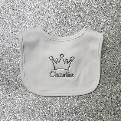 Personalised Baby Bib Embroidered Prince Princess Crown Girl Boy King Queen