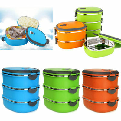 1/2/3 Layer Stainless Steel Insulated Bento Food Storage Container Lunch Box Hot